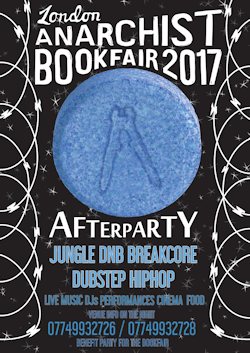 Bookfair afterparty Jungle, DnB, Breakcore, Dubstep, Hip Hop. Call 07749932726 or 07449932728 on the night for venue info